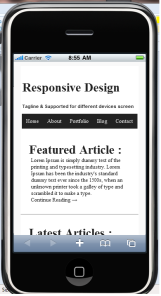 Mobile Web site screen